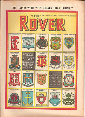 THE ROVER,No.1469,AUG.22nd,1953:SCHOOL BADGES FRONT COVER:PUBLISHER D.C.THOMSON
