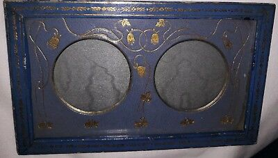 Art Nouveau double Picture Photo Frame blue and gold flowers floral