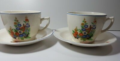 Clarice cliff ceramic cup and saucer set of 2 porcelain