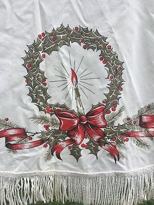 "vintage 60 "" circle tablecloth with fringe Christmas pattern bronzy-gold and red"