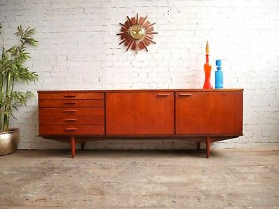 Vtg 7ft Mid Century Modern Danish Era Teak 5 Drawer Storage Cabinet Sideboard