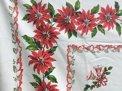 vintage tablecloth Red & Green on white Christmas 66 x 52 Poinsettia border
