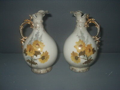Pair of ANTIQUE Austrian TURN WIEN, Vienna JUGS 12cm tall  ERNST WAHLISS Good