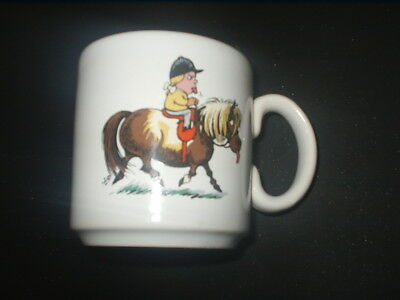 Vintage GRAYS Pottery NORMAN THELWELL HORSE / PONY & RIDER MUG CUP England 1967
