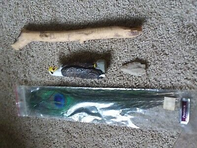 Wood Hand Carved & Painted Eagle Talking Stick White Arrowhead 4 Peacock Feather