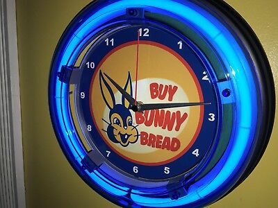 *** Bunny Bread Bakery Store Diner Kitchen Store Blue Neon Wall Clock Sign