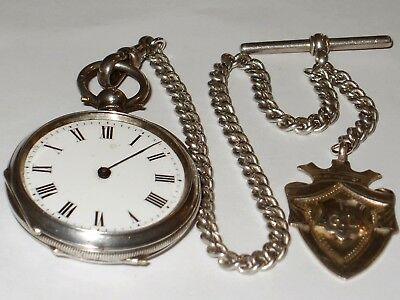 Antique Sterling Silver Albert Chain & 1883 Louis Weill & H.harbury Pocket Watch