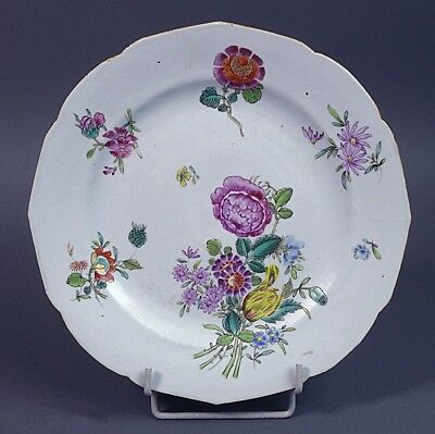 Chine Qianlong Assiette Porcelaine 18ème Grand Bouquet