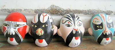 4 Small Vintage Asian Japanese Theatre Painted Mask Faces  Clay