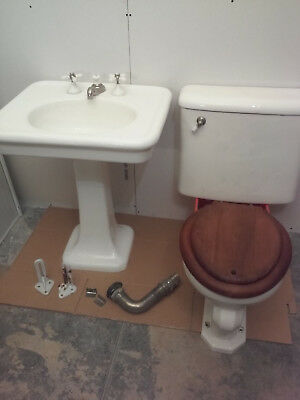 Antique Pedestal Sink and Toilet, Monument Pottery Co Circa 1913 $1100 off WOW