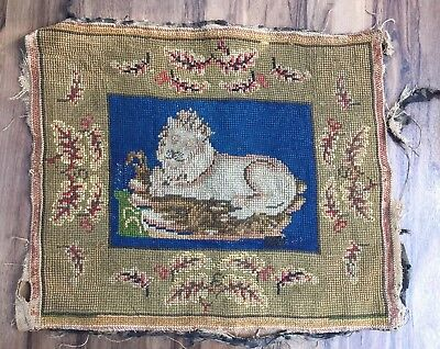 VINTAGE  TAPESTRY PANEL/Cushion Cover of a Lion, 44 X 37CM