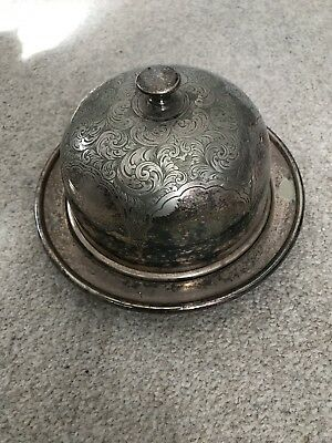 Vintage Silver plate decorative round butter dish with lid