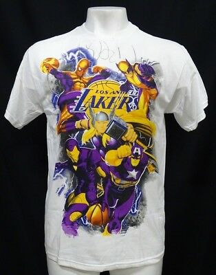 Los Angeles Lakers Men's White Marvel Comic Short Sleeve T-Shirt NBA S - 3XL
