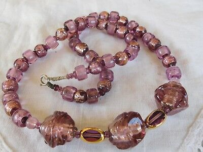 Beautiful Vintage 1970s Purple Venetian Glass Foil Bead Necklace
