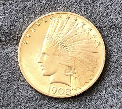 **1908 United States Indian Ten Dollar Gold Coin - Amazingly Great Condition**