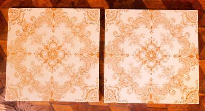 PAIR Antique Victorian Tile Aesthetic Decorative Print Boote Old Sherwin Cotton