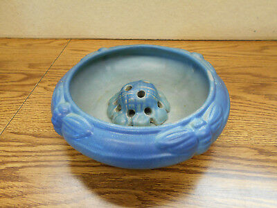"""Van Briggle Art Pottery Blue Dragonfly Bowl With FLOWER FROG OLD MARK  9"""""""