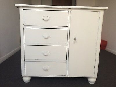 White solid wood storage cupboard (shoes/printer) drawers and lockable cupboard