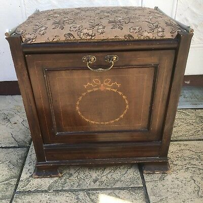 Edwardian Inlaid Mahogany Piano Stool with Storage and Tapestry Fabric