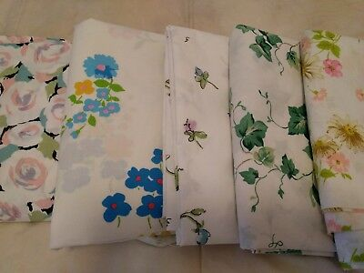 Lot Of 5 Vintage Twin Flat Sheets Floral