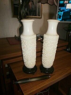 Pair Hand Carved Chinese Vases With Raised Dragons/Flowers Design -Wood/bases -g