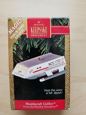 STAR TREK 1992 Hallmark Keepsake ornament Shuttlecraft Galileo w/ voice of Spock