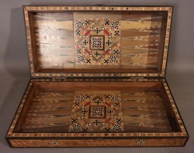Vintage PERSIAN Style MARQUETRY INLAID Inlay CHECKERBOARD Chess GAME BOARD BOX