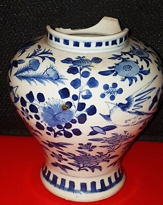 Antique Chinese Kangxi Blue & White Porcelain Vase with Birds and Flowers