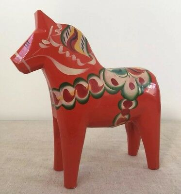 "Large 8"" Tall Vintage Red Dala Horse Nils Olsson Sweden Wooden Original Label"