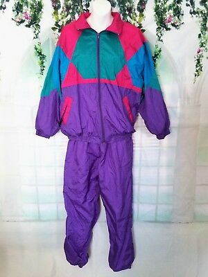 Awesome ! !   80's Women's Lrg Colorful Track Suit / Windbreaker