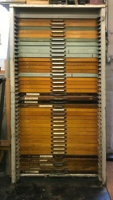letterpress tallboy with 40 cases of monotype univers metal type