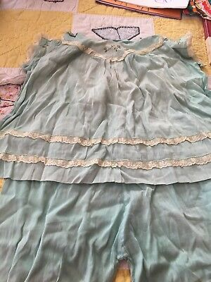 Antique Baby or Doll Clothes Pale Green Dress & Panties, embroidered Hand Made