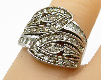 925 Sterling Silver - Vintage Art Deco Cubic Zirconia Encrusted Ring Sz 6 R4089