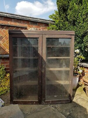 Old pine cabinet with glass doors farmhouse barn find.