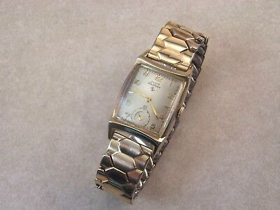 Vintage Elgin 17 Jewel 624 10K Gold Filled Art Deco Men's Watch w/GF Top Band