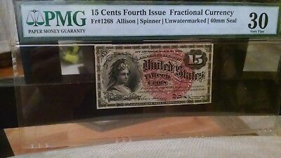 Very Scarce Fr# 1268 Fourth Issue 40 mm Seal 15 Cent Fractional Currency PMG 30
