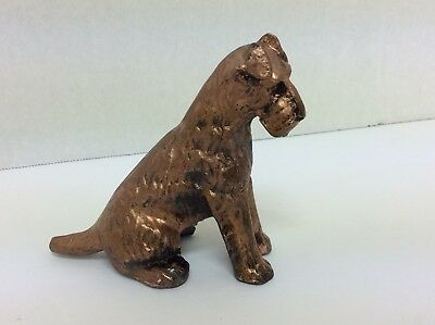 Vintage Copper Clad Metal Airedale Terrier Dog Figurine Nicely Detailed