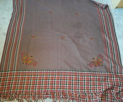 Huge Vintage wool hand embroidered Stole Shawl wrap butterfly 41 x 88 inches