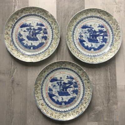 """Beautiful Famille Rose Guangxu Period Chinese 6 Character Mark 7"""" Plates x3 AF"""