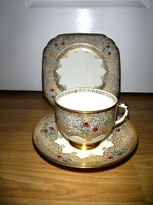 Tuscan Art Deco Hand Painted Trio ~ Cup, Saucer & Plate ~ Heavily Gilded