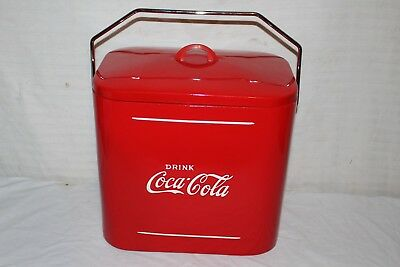 Rare Vintage 1940's Coca Cola Soda Pop Picnic Cooler Embossed Metal Sign~Nice