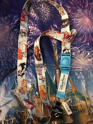 Disney Parks Cat and Dogs of Disney Lanyard with Cheshire Pluto Lady Tramp NEW