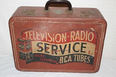 "Vintage 1950's RCA Tubes Television Radio Service Kit Suitcase Gas Oil 18"" Sign"
