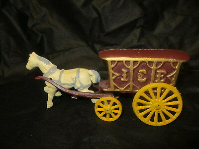 Antique Early Hubley Cast Iron Horse Drawn ICE Wagon Cart Pull Toy