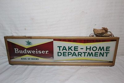 """Vintage 1950s Budweiser Beer Take-Home Department Gas Oil 25"""" Lighted Metal Sign"""