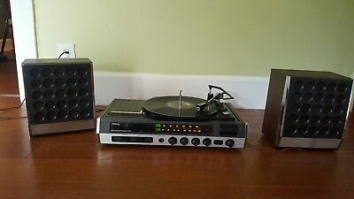 Vintage JCPenney #1900 AM/FM Stereo Record Player 8 Track Sterophonic Speakers