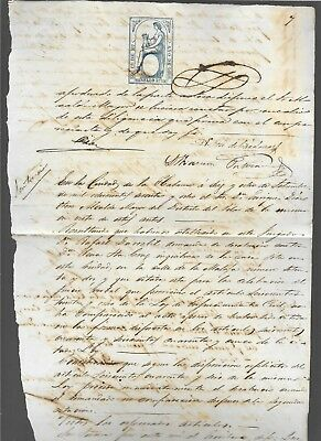 Spain caribbean island, antilles,notarial sealed paper w/ revenue stamps added