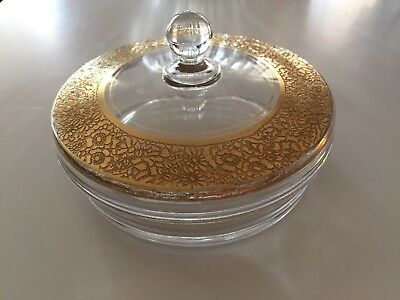 Antique Round Glass Covered trinket Box With Gold Gilt Rim With Flowers