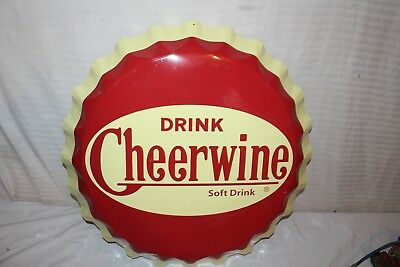 "Large Vintage Cheerwine Soda Pop Bottle Cap Gas Station 27"" Metal Sign~Nice"
