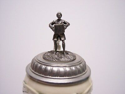 Lidded Beer Stein Octoberfest Accordion Player On Lid Very Limited Edition